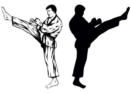 foot soldier: Vector illustration of the sportsman training kick