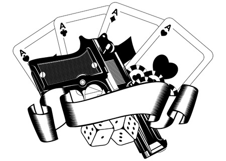 Abstract vector illustration pistols and playing cards Çizim