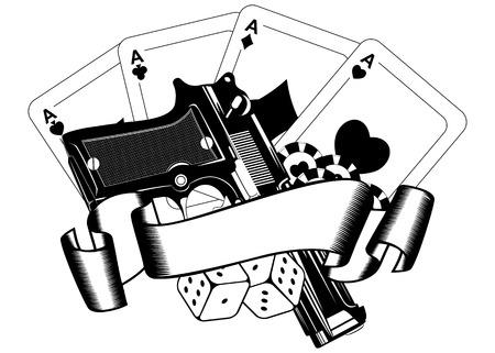 Pistolas ilustración vectorial y jugando a las cartas Resumen Vectores
