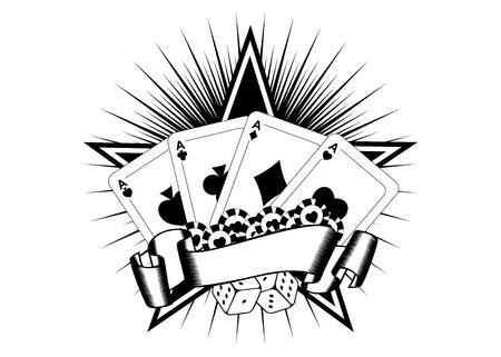 Abstract vector illustration cartes à jouer dés puces Banque d'images - 37939127