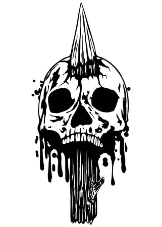 punched: Abstract vector illustration skull punched stake