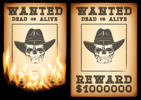 wanted poster: Abstract vector illustration wantend poster with skull in stretson