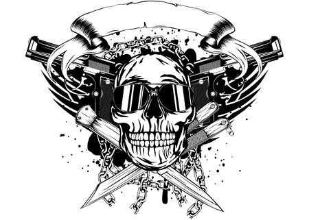 Ilustración vectorial cráneo dos pistolas y cuchillos cruzados