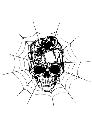 spider web: Abstract vector illustration human skull with spider and web