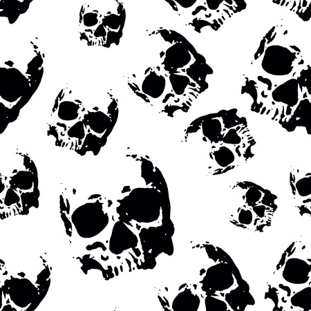 Abstract vector illustration seamless with skulls Vector