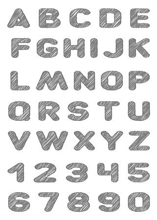 pencil texture: Vector letters, figures with pencil texture