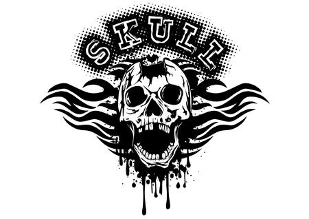 pierced: Abstract vector illustration pierced skull on grunge splash with tribal patterns