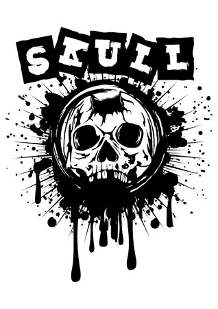 pierced: Abstract vector illustration pierced skull on grunge splash Illustration