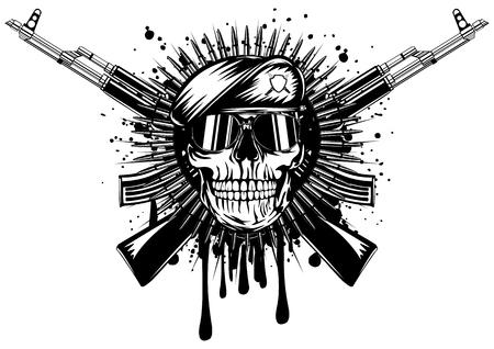 military beret: Abstract vector illustration skull in beret crossed assault rifle on grunge splash
