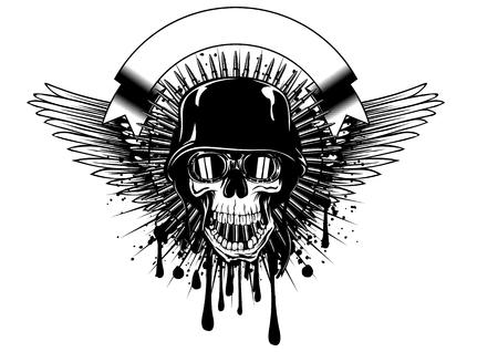 muerte: ilustración vectorial cráneo resumen en gafas y el casco en el chapoteo del grunge