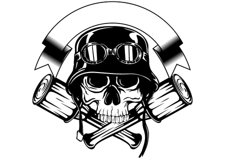Abstract vector illustration skull in helmet with goggles and crossed grenade