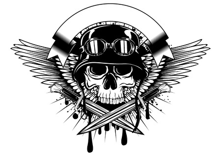 muerte: Resumen ilustración vectorial de cráneo en casco con gafas y cuchillos cruzados en salpicadura del grunge Vectores