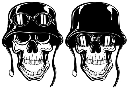 military helmet: Abstract vector illustration skull in helmet with goggles