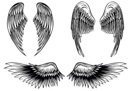 tatouage ange: Résumé ailes vecteur illustration set Illustration