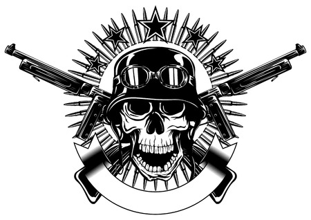 Abstract vector illustration skull in helmet with goggles and crossed machine gun Illustration