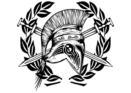Image crossed swords and legionnaires helmet