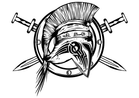 ancient warrior: Image of shield, crossed swords and legionnaires helmet Illustration