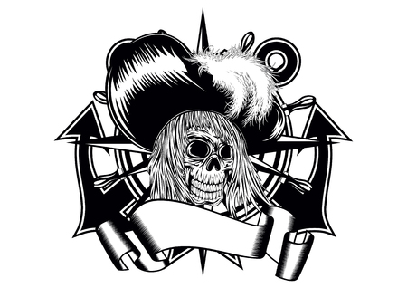 cranium: Illustration pirate in hat with feathers and anchor wheel