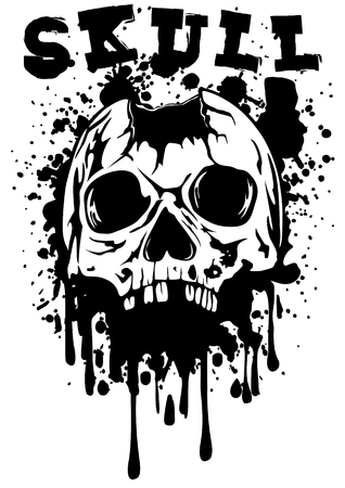 punched: Abstract illustration punched skull and lettering skull
