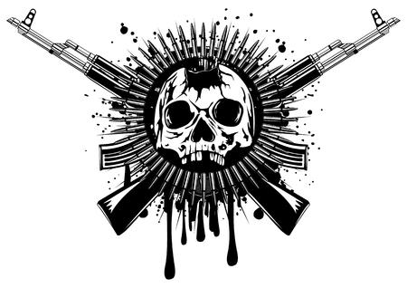 Abstracte illustratie geponst schedel met gekruiste machine geweer en munitie