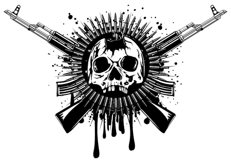Abstract illustration punched skull with crossed machine gun and ammunition