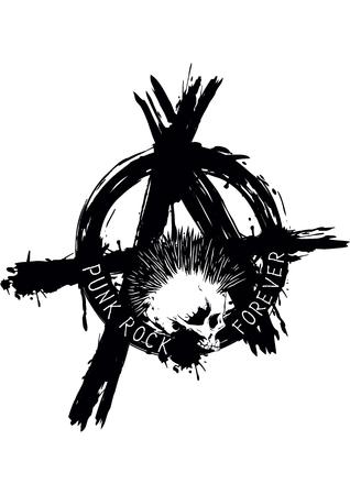 Ilustración símbolo de la anarquía y el cráneo punky de la camiseta o el diseño del tatuaje Ilustración de vector