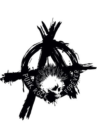 Illustration symbol anarchy and punk skull for t-shirt or tattoo design Illustration
