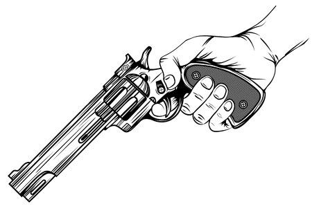 Abstract illustration revolver in hand
