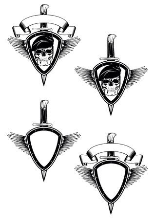 escudo ilustración abstracta con cuchillos cruzados y cráneo Ilustración de vector
