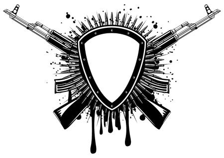 Abstract illustration shield with crossed machine guns on grunge splash