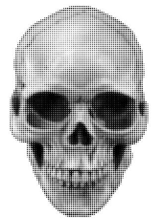 calavera: cráneo humano imagen con el efecto de semitono de la camiseta o el diseño del tatuaje