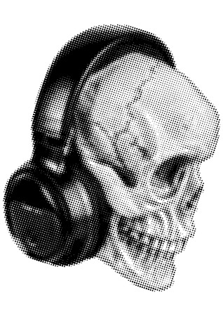 headphone: Image human skull with halftone effect for t-shirt or tattoo design