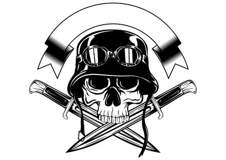 cráneo ilustración abstracta en el casco con gafas y cuchillos cruzados