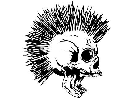 muerte: Ilustración del punk cráneo con cresta de la camiseta o el diseño del tatuaje Vectores