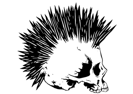 mohawk: Illustration punk skull with mohawk for t-shirt or tattoo design
