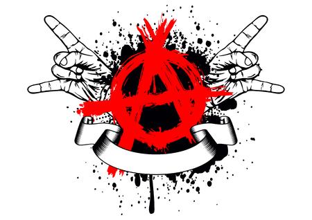 """Resumen de la ilustración símbolo de la anarquía con gesto con la mano """"roca"""""""