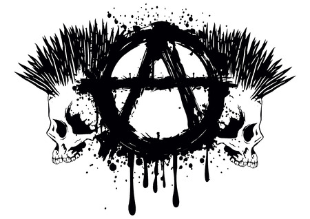 Illustration symbol anarchy and two punks skull for t-shirt or tattoo design