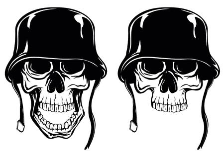 deaths: Abstract illustration two skull in helmet Illustration
