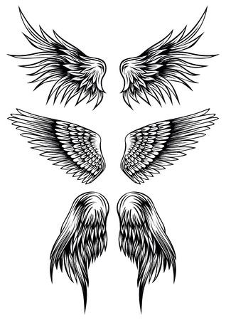 engel tattoo: Zusammenfassung Illustration Flügel gesetzt