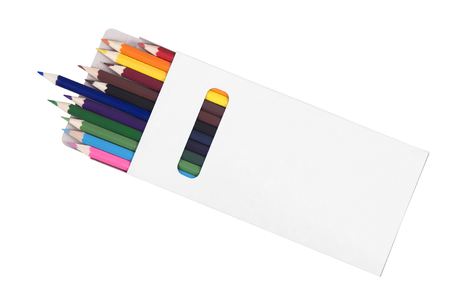 pencil box: Multicolored pensils in box isolated on white background Stock Photo