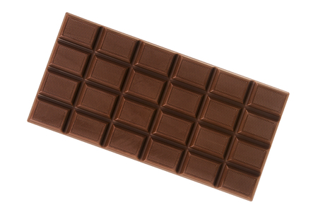 Chocoladereep op witte achtergrond wordt geïsoleerd die Stockfoto