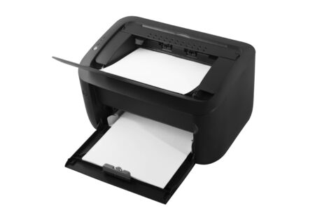 Black modern laser printer with paper isolated on white background