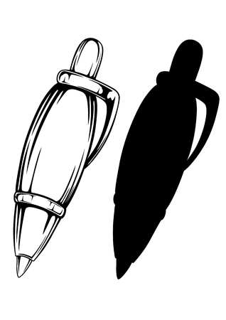 ball pens stationery: illustration pen and silhouette
