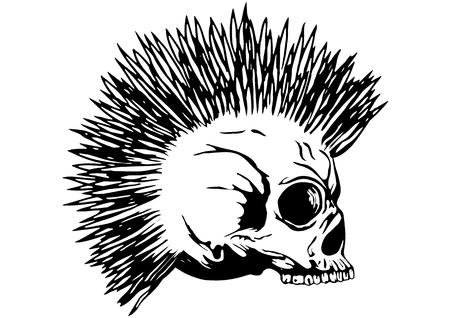 cranium: Illustration punk skull with mohawk for t-shirt or tattoo design