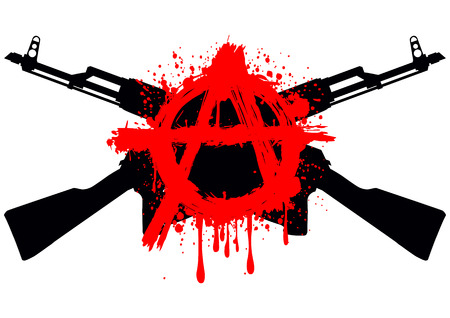Vector illustration two crossed gun machine and red symbol anarchy for design tattoo or t-shirt Illustration