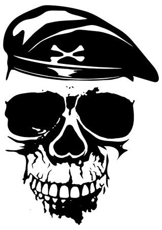 cranium: illustration grunge soldier skull in beret for t-shirt design or tattoo Illustration