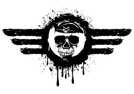 airman: illustration grunge skull in frame