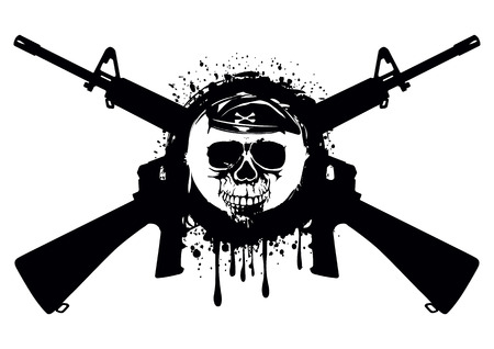 Abstract illustration crossed automatic rifles and skull in beret for t-shirt design and tattoo
