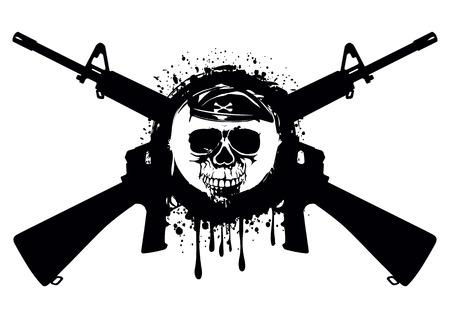 Abstracte illustratie gekruiste automatische geweren en schedel in baret voor t-shirt ontwerp en tattoo