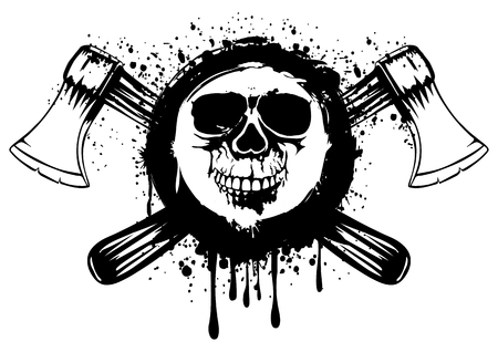 illustration grunge skull in frame with crossed axes